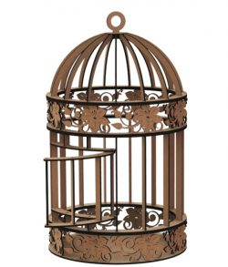 Birdcage with flower motifs file cdr and dxf free vector download for Laser cut