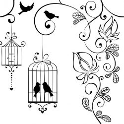 Birds, flowers and birdcages  file cdr and dxf free vector download for laser engraving machines