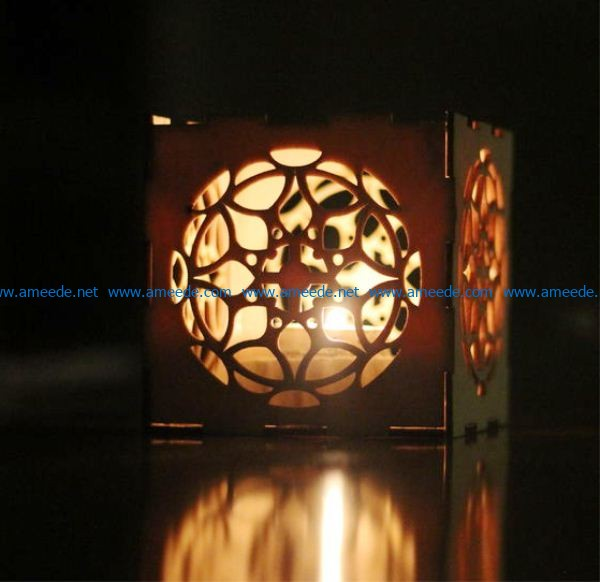 Box-shaped candle holder file cdr and dxf free vector download for Laser cut