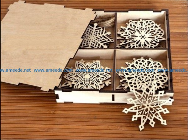Box with christmas snowflakes file cdr and dxf free vector download for Laser cut