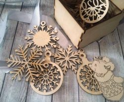 Box with pine ornaments  file cdr and dxf free vector download for Laser cut