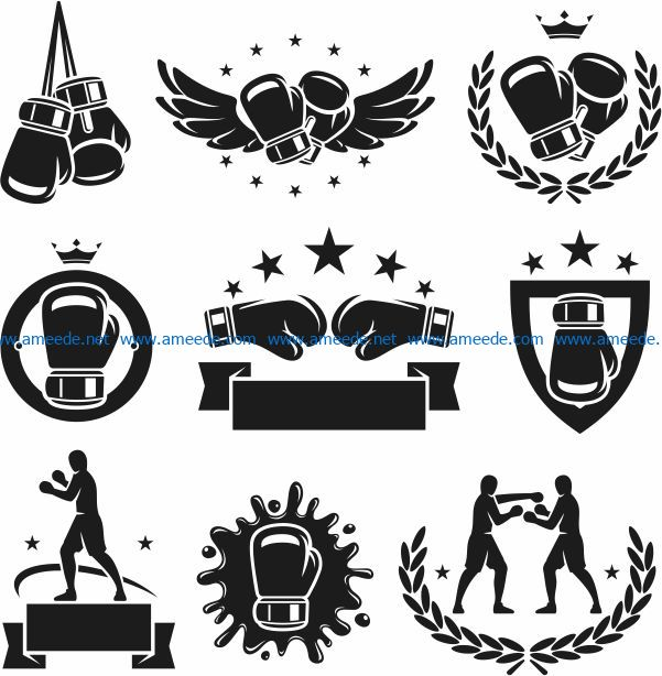 Boxing icon file cdr and dxf free vector download for laser engraving machines