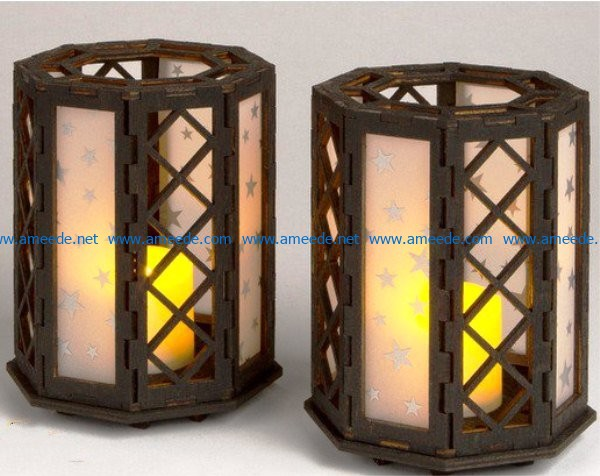 Candle Holder lamp file cdr and dxf free vector download for Laser cut