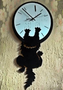 Cat wall clock file cdr and dxf free vector download for Laser cut CNC