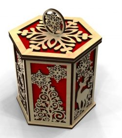 Christmas box file cdr and dxf free vector download for Laser cut