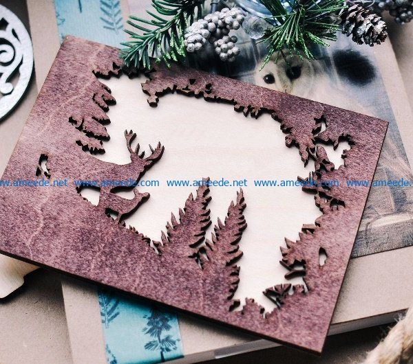 Christmas cards file cdr and dxf free vector download for Laser cut