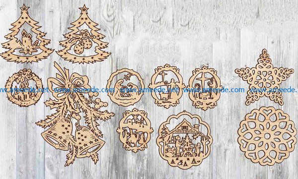 Christmas decoration toys file cdr and dxf free vector download for Laser cut