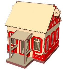 Christmas house file cdr and dxf free vector download for Laser cut