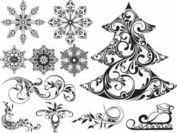 Christmas motifs file cdr and dxf free vector download for print or laser engraving machines