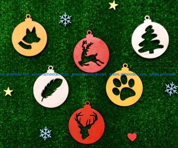 Christmas tree decoration pattern file cdr and dxf free vector download for Laser cut