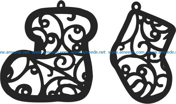 Christmas tree decoration socks file cdr and dxf free vector download for Laser cut