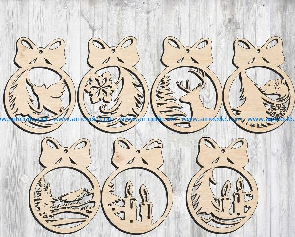 Christmas tree decoration toys file cdr and dxf free vector download for Laser cut
