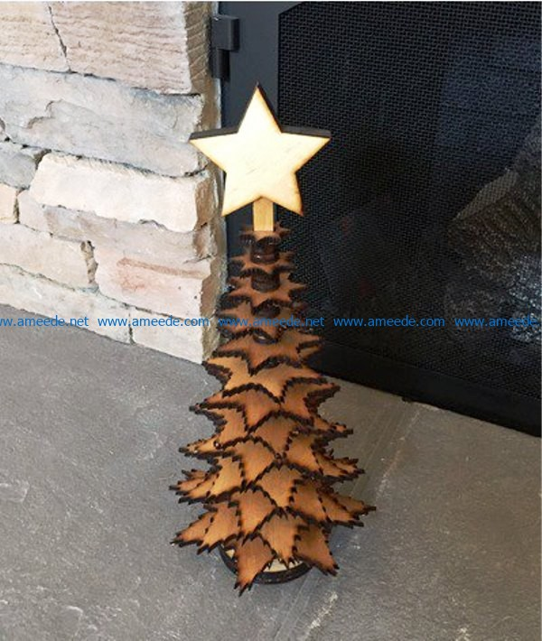 Christmas tree from the stars file cdr and dxf free vector download for Laser cut