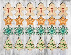 Christmas tree hanging toysfile cdr and dxf free vector download for Laser cut