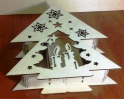 Christmas tree shaped box file cdr and dxf free vector download for Laser cut