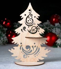 Christmas tree-shaped napkin holder file cdr and dxf free vector download for Laser cut