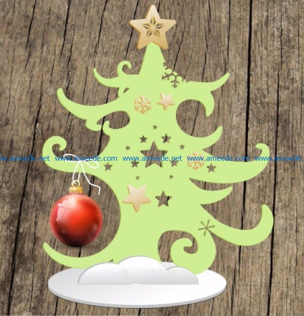 Christmas tree with balls file cdr and dxf free vector download for Laser cut