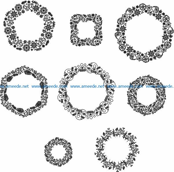 Christmas wreath file cdr and dxf free vector download for print or laser engraving machines