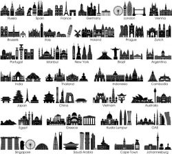 City and country symbols  file cdr and dxf free vector download for print or laser engraving machines