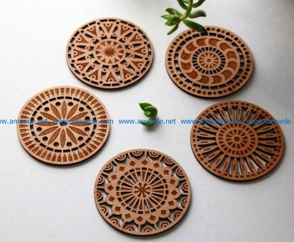 Coasters file cdr and dxf free vector download for Laser cut