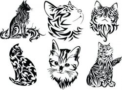 Cute cats file cdr and dxf free vector download for print or laser engraving machines