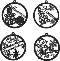 Decorate Christmas trees with snowmen, stars and reindeer file cdr and dxf free vector download for Laser cut