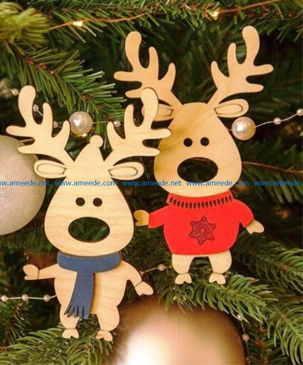 Deer christmas decoration file cdr and dxf free vector download for Laser cut
