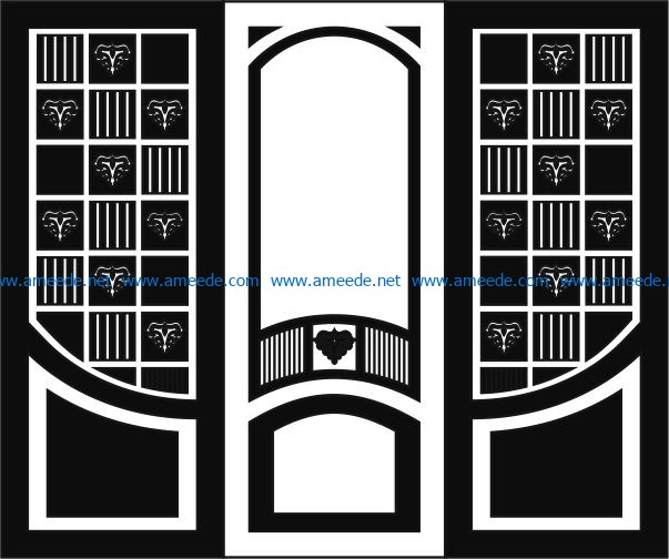 Design pattern door E0006195 file cdr and dxf free vector download for Laser cut CNC