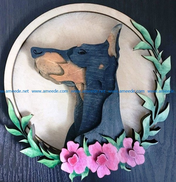 Doberman dog file cdr and dxf free vector download for Laser cut