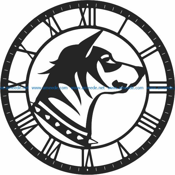 Dog wall clock file cdr and dxf free vector download for Laser cut CNC