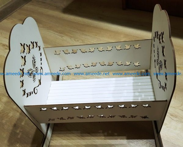 Doll Crib file cdr and dxf free vector download for Laser cut