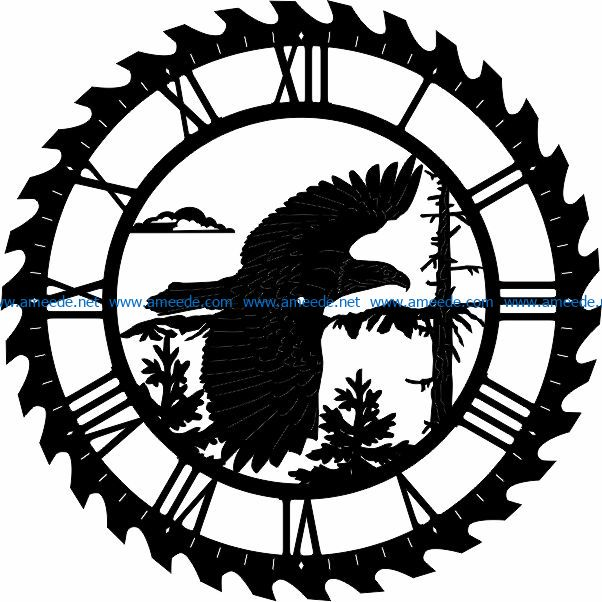 Eagle wall clock file cdr and dxf free vector download for Laser cut CNC