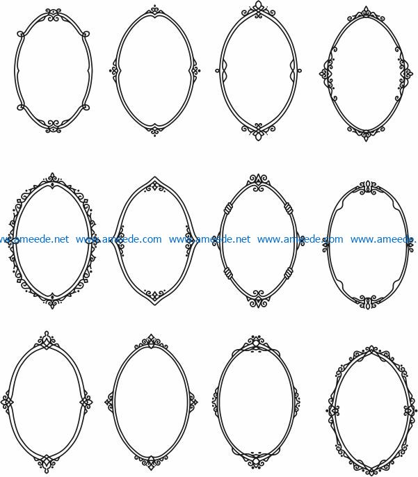 Elliptical decorative frame file cdr and dxf free vector download for Laser cut CNC