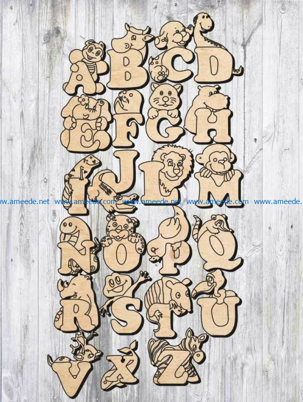 English alphabet file cdr and dxf free vector download for Laser cut