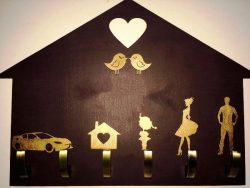 Familly key holder file cdr and dxf free vector download for Laser cut
