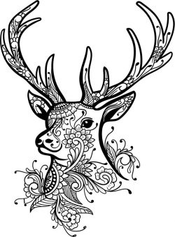 Floral Deer file cdr and dxf free vector download for laser engraving machines