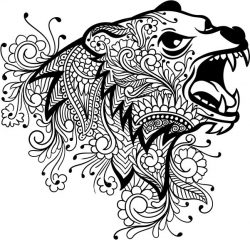 Floral bear file cdr and dxf free vector download for laser engraving machines