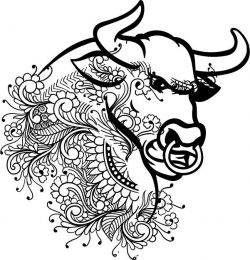 Floral bull file cdr and dxf free vector download for laser engraving machines