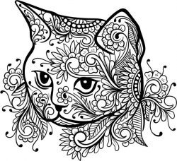 Floral cat file cdr and dxf free vector download for laser engraving machines