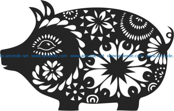 Floral pig file cdr and dxf free vector download for laser engraving machines