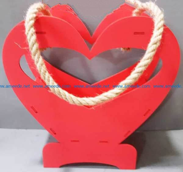 Flower basket of hearts file cdr and dxf free vector download for Laser cut
