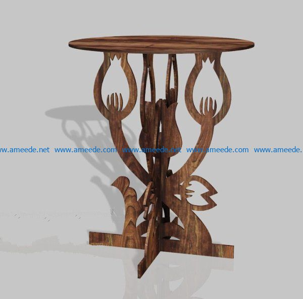 Flower table file cdr and dxf free vector download for Laser cut CNC