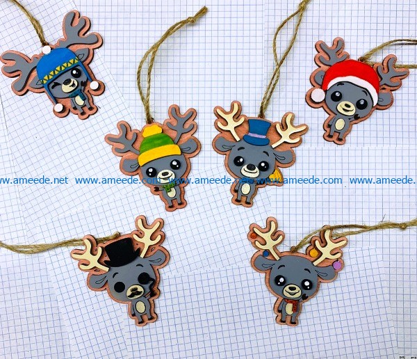 Funny deer decoration file cdr and dxf free vector download for Laser cut