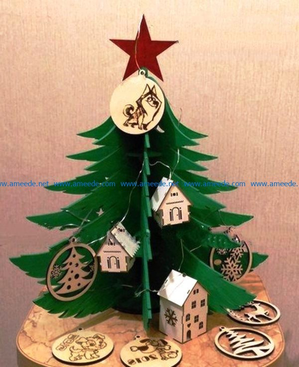 Green christmas tree file cdr and dxf free vector download for Laser cut