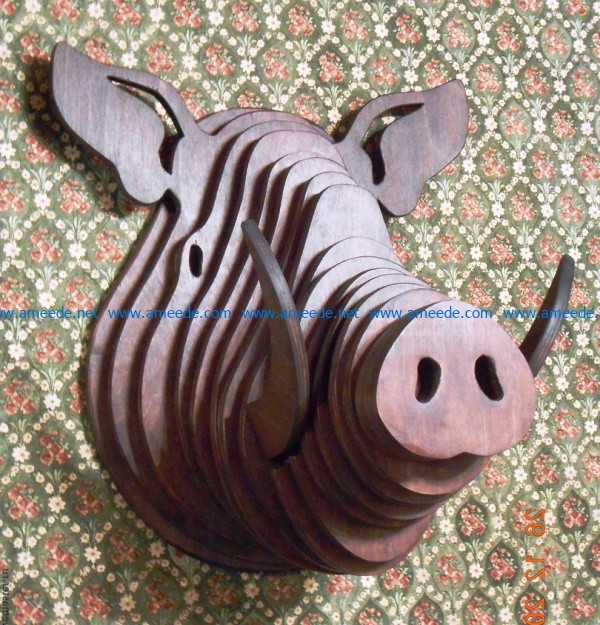 Head of wild boar file cdr and dxf free vector download for Laser cut CNC
