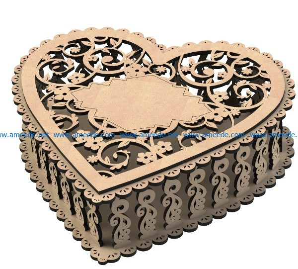 Heart Casket file cdr and dxf free vector download for Laser cut