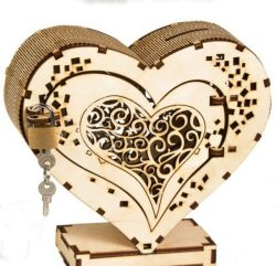 Heart box with lock file cdr and dxf free vector download for Laser cut CNC