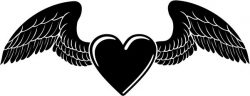 Heart of love with wings file cdr and dxf free vector download for print or laser engraving machines