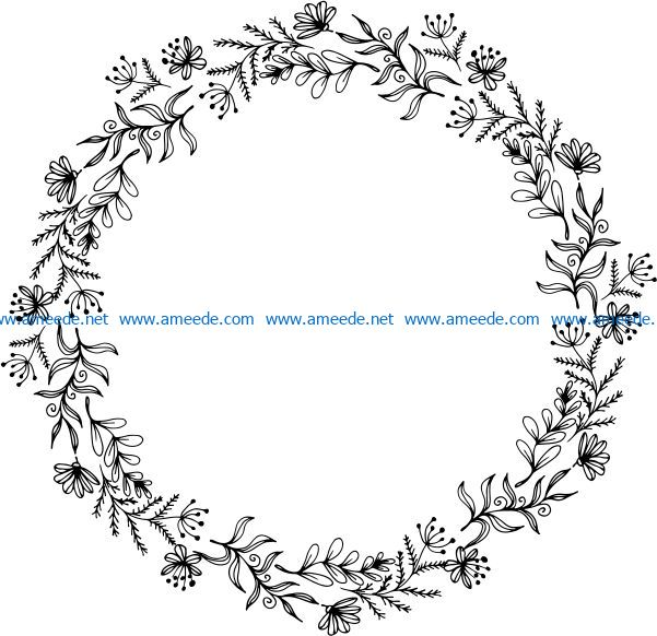 Herbal Wreath file cdr and dxf free vector download for print or laser engraving machines f