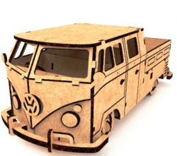 Hippy Pickup Bus file cdr and dxf free vector download for Laser cut
